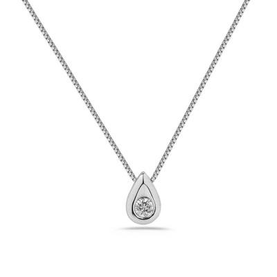 Collier diamant 0.10ct serti clos goutte