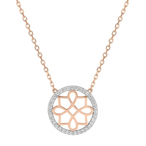 Collier oxyde de zir.or375 rose+bic