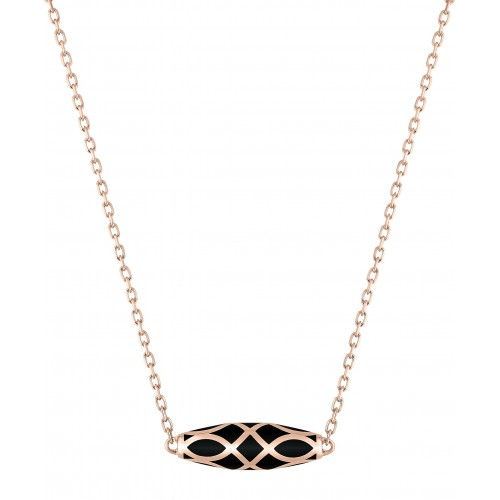 Collier laque noir de jais or375 ro