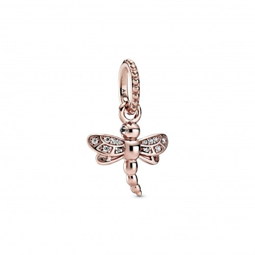Dragonfly Pandora Rose pendant with clear cubic zirconia
