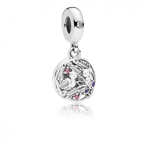 Wheatfield bird and mouse silver dangle with purple enamel, red and clear cubic zirconia