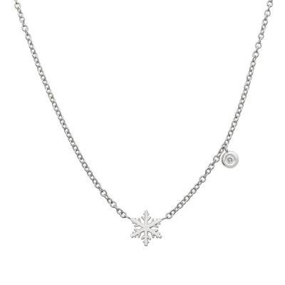 Collier or blanc diamant 0.015ct motif flocon