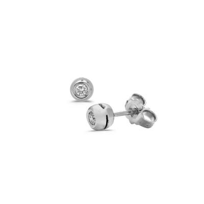 Paire de BO diamants 0.07ct or blanc serti clos